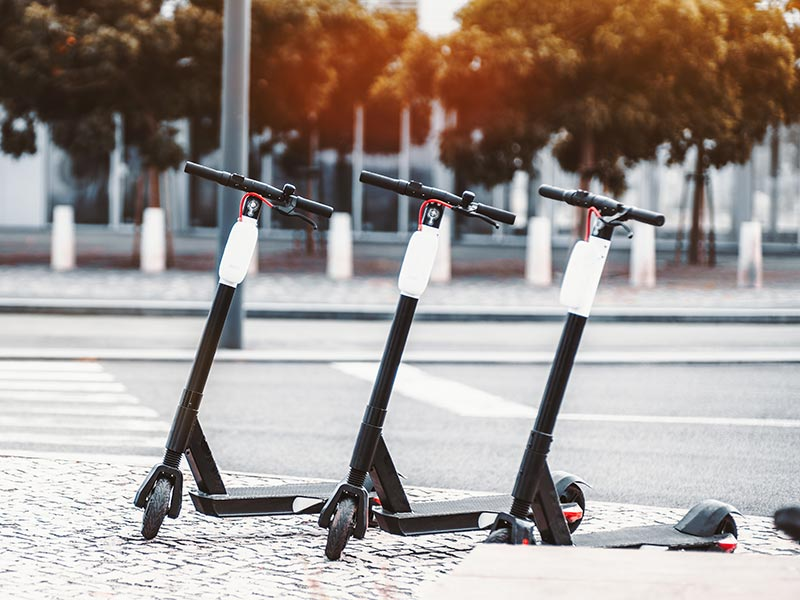 E-scooters on a city sidewalk